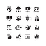 Big data database analytics cloud computing information technology digital processing vector icon set Stock Photo
