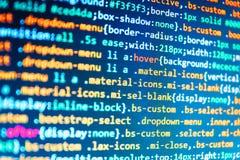 Big data database app. Software source code. Desktop PC monitor royalty free stock photos