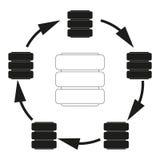 Big data Database cycle Vector black icon on white background. Stock Image