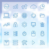 25 big data, database icons set. 25 outline big data, database icons, blue on clouds background Stock Image