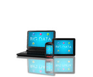 BIG DATA Devices. 3d render of mobile devices - notebook/laptop, smartphone and tablet. Screens display a blue background image branded BIG DATAand icons search Royalty Free Stock Photo