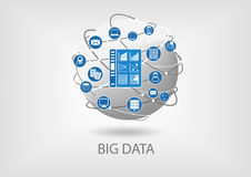 Big data digital analytics dashboard illustration. Business intelligence dashboard in order to analyze big data coming from smart devices and unstructured data