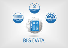 Big data digital analytics dashboard  illustration. Business intelligence dashboard in order to analyze big data coming from smart devices and unstructured Royalty Free Stock Photos