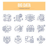 Big Data Doodle Icons. Doodle  line icons of big data technology, processing information, analyzing statistics Stock Photography
