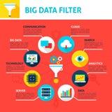 Big Data Filter Infographics. Flat Design Vector Illustration of Business Analysis Concept Stock Photo