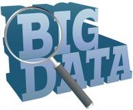 Big Data find information technology. Magnifying glass search for Big Data information technology Stock Photo