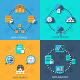 Big data 4 flat icons composition Stock Image