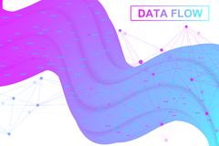 Big data flow. Artificial Intelligence and Machine Learning Concept. Digital analytics concept with graph and charts. Financial schedule infographic. Vector Stock Photos