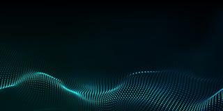 Big data. Futuristic technology blue background. Cyber technology. Technology background. Wave 3d