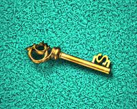Big data, gold dollar sign treasure key in characters background. Big data, information analysis and restructuring concept. Discovering gold dollar sign of royalty free stock photo