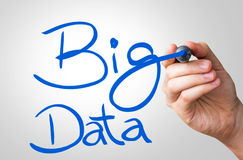 Big Data hand writing with a blue mark on a transparent board.  royalty free stock photo