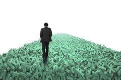 Big data highway, man walking on huge characters over air. Big data highway concept, businessman walking on the road of huge amount of green letters and numbers stock illustration