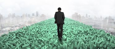 Big data highway, man walking on huge characters over air. Big data highway concept, businessman walking on the road of huge amount of green letters and numbers stock image