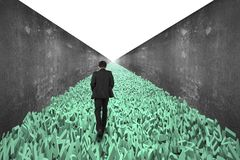 Big data highway, man walking, huge characters road, concrete wall. Big data highway concept, businessman walking on the road of huge amount of 3d green letters stock photos
