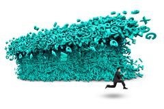 Big data. a huge characters tsunami wave with businessman running. Big data concept. Businessman running away with a tsunami wave of computer data, huge amount royalty free stock photography