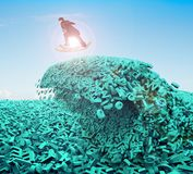 Big data. Huge characters tsunami wave. Businessman surfing money board. Big data driving concept. Surfing business man riding dollar bill surfboard on the royalty free stock photography