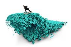 Big data. Huge characters tsunami wave. Businessman surfing money board. Big data driving concept. Surfing business man riding dollar bill surfboard on a tsunami royalty free stock photography