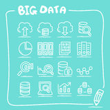 Big Data icon doodle set Stock Photo