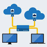 Big Data icon set, Cloud computing concept. Flat design Royalty Free Stock Image