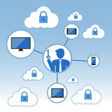 Big Data icon set, Cloud computing concept. Flat design Stock Images