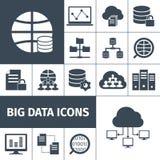 Big data icons black Royalty Free Stock Photos