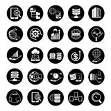 Big data icons. Set of 25 big data icons, data analytics icons Royalty Free Stock Images