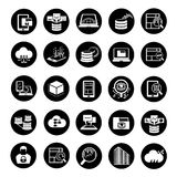 Big data icons. Set of 25 big data icons, data analytics icons Stock Photo