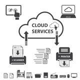Big data icons set, Cloud computing. Stock Images