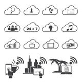 Big data icons set, Cloud computing. Stock Photos