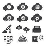 Big data icons set, Cloud computing. Royalty Free Stock Image
