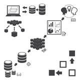 Big Data icons set, Data mining concept Stock Photography