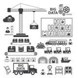 Big Data icons set, Data storage and Database Royalty Free Stock Photos