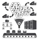 Big Data icons set, Data storage and Database Stock Photo