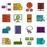 Big data icons doodle set Stock Photos