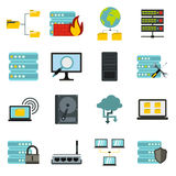 Big data icons set, flat style Stock Photos