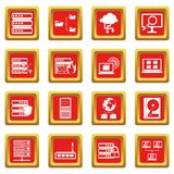 Big data icons set red. Big data icons set in red color isolated vector illustration for web and any design Stock Image