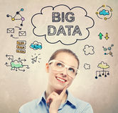Big Data idea sketch with young business woman Royalty Free Stock Photos