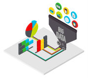 Big data infographics isometric vector illustration Royalty Free Stock Photos