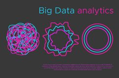 Big data information analytics vector flat illustation. Big data science vector illustration. Machine learning algorithm for information filter and anaytic in Royalty Free Stock Photo