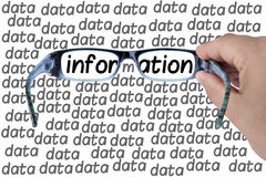 Big Data Information Glasses Looking For Isolated. Male hand holding glasses or spectacles focusing or looking for information among big data isolated white Stock Image