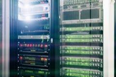 Big data and information technology concept. Supercomputer data center. Multiple exposure. Web network, internet telecommunication technology, big data storage Stock Image
