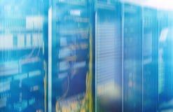 Big data and information technology concept. Supercomputer data center. Multiple exposure. Web network, internet telecommunication technology, big data storage Royalty Free Stock Photo