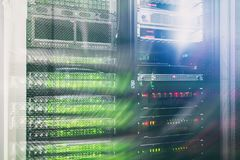 Big data and information technology concept. Supercomputer data center. Multiple exposure. Web network, internet telecommunication technology, big data storage Royalty Free Stock Image