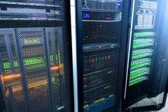 Big data and information technology concept. Supercomputer data center. Multiple exposure. Server room in data center full of tele