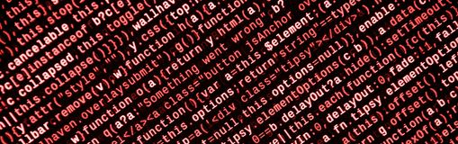 Big data and Internet of things trend. IT specialist workplace. Website HTML Code on the Laptop Display. Closeup Photo. Big data storage and cloud computing royalty free stock images