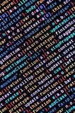 Big data and Internet of things trend. IT specialist workplace. Website HTML Code on the Laptop Display. Closeup Photo. Big data storage and cloud computing stock image