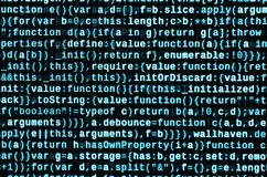 Big data and Internet of things trend. IT specialist workplace. Website HTML Code on the Laptop Display. Closeup Photo. Big data storage and cloud computing royalty free stock photography