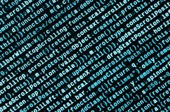 Big data and Internet of things trend. IT specialist workplace. Website HTML Code on the Laptop Display. Closeup Photo. Big data storage and cloud computing royalty free stock photos
