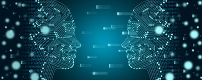 Big data and machine learning concept. Two female faces outline with binary data flow on a background. Big data and machine learning concept. Two female faces royalty free stock photo