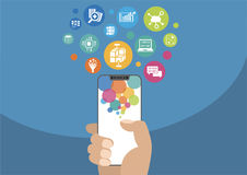 Big data and mobile analytics concept as illustration with hand holding modern bezel-free / frameless smartphone and icons royalty free illustration